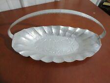 Vintage World Hand Forged Hammered Aluminum Basket Handled Tray Grape Leaf