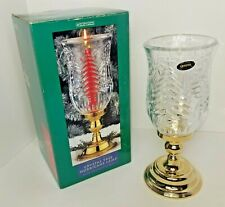 NIB Crystal Tree Hurricane Lamp Gold plated Base Converts to Candlestick Holder!