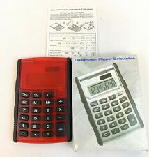 Dual Power Flipper Pocket Portable Handy Calculator CALC3000, Red