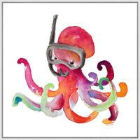 Snorkeling I Nautical Sea Octopus Wall Art Print Home Decor Frame Canvas