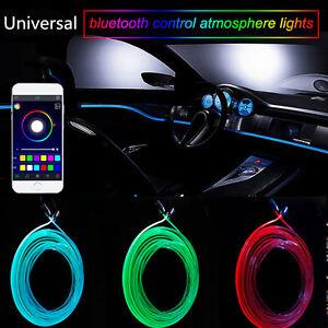 RGB Light LED Car Interior Neon Strip Light Sound Active Blueteeth Phone Control