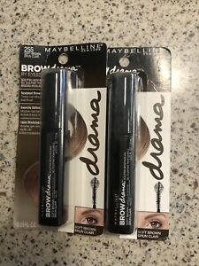 LOT OF 2 Maybelline Brow Drama Sculpting Brow Mascara - #255 Soft Brown ~0.23oz