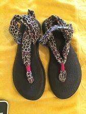 Sanuk Yoga Sling Black Pink Leopard Animal Print Sandals Women's 5-6 Shoes Flip
