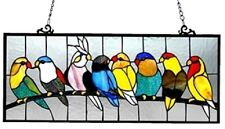 "25.5"" Colorful BirdsLounging on Branch Stained Glass Tiffany Style Window Panel"