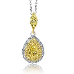 1.02 Ct Teardrop Pear yellow Diamond Pendant Necklace 14k White Gold
