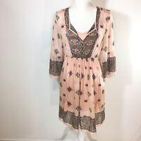 Beige by ECI Womens Tunic Sz Small Peach Floral Lagenlook Top Shirt Boho Sheer