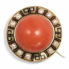 Impressive Large Coral in Gold Email & Natural Beads, Brooch Italy around 1870