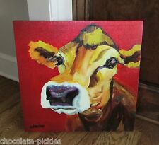 Large JERSEY COW CANVAS Wall PICTURE*Farmhouse Primitive/French Country Decor