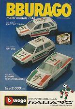 X1276 Fiat Uno Italia '90 - BBURAGO - Pubblicità 1989 - Advertising