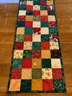 Christmas Red Green Gold Quilted Table Runner Handmade