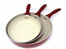 CONCORD 3PC Ceramic Non Stick Fry Pan Set Eco Friendly Frying Induction Cookware
