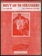 Don't Go To Strangers 1954 The Orioles Sheet Music