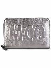 McQ Alexander McQueen Oversized McQ logo travel wallet Silver-tone leather $275