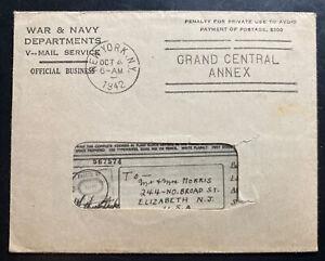 1942 War & Navy Department APO 1 Air-graph Cover To Elizabeth NJ USA