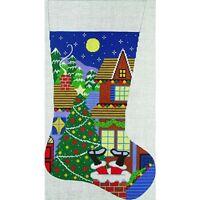 Needlepoint HandPainted Amanda Lawford Christmas Stocking ROOFTOP Santa