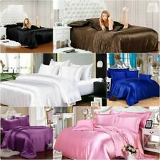 600 Thread Count Satin Silk Queen Size 4 PC or 6 PC Bed Sheet Set Solid Colors