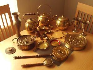Vintage Job Lot X20 Brass Teapots/Jug/Vase/Mini Jugs/Pots/Mini Bed Pan Etc.