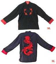 Veste noire col mao doublée brodé dragon rouge Kung Fu chinois japon S - 8XL