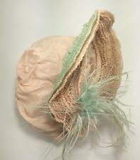 Vintage Doll Bonnet Wired Brim Ruffled Pink Blue Feather