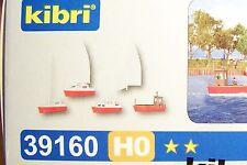 NEW HO Kibri 39160 Boats (2) Sailboats (1) Workboat (1) Motor Launch : Model KIT