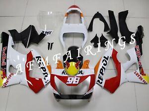 Red White Repsol ABS Injection Mold Bodywork Fairing Kit for CBR929RR 2000-2001