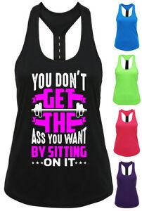 Womans Sports Top Tank Vest Racer - Ladies Gym Crossfit Dance Yoga T Shirt
