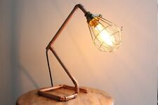 Copper Pipe Table Lamp with Edison Bulb and Cage Handmade Industrial Metal Retro