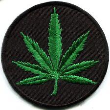 Marijuana leaf pot weed grass ganja hippie boho retro applique iron-on patch G-4