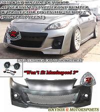 AE V2-Style Front Bumper + Fog Lights Fits 10-13 Mazda 3