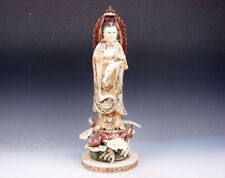 "12"" Top Quality Bone Hand Crafted LARGE Kwan-Yin Buddha Water Bottle & Lotus"