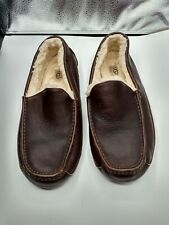 UGG Australia  Brown Leather Sheepskin Slippers Shoes Men's  estimated sz  11.5