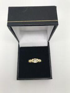 9ct Yellow Gold Pale Quartz Solitaire Ring Size M