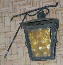 antico lampadario lampione ferro battuto cristallo ambrato con cerchi x ingresso