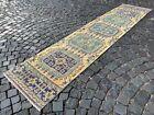 Handmade rug, Runner rug, Turkish rug, Vintage rug, Wool, Carpet   2,4 x 11,2 ft