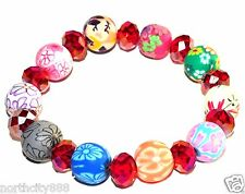 Polymer Flower Clay Stretch Bracelet Beaded Crystal Faceted Beads