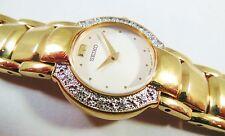 Seiko Gold Tone Stainless Steel 1N00-0CC8 w/ Gemstones Sample Watch NON-WORKING