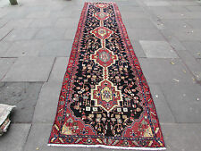 Old Traditional Hand Made Persian Oriental Wool Blue 16 foot Long Runner 485x112