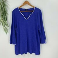 Talbots Womens Tunic Size XL Blue Embroidered Shirt Top Cotton Linen V-Neck b8