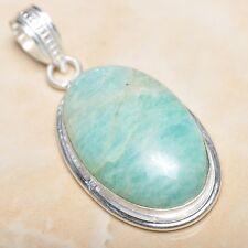 "Handmade Aquamarine Amazonite Jasper 925 Sterling Silver Pendant 2"" #P08866"
