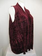 Susan Graver Size 1X Sleeveless Burnout Design Cascading Open Front Vest - Wine