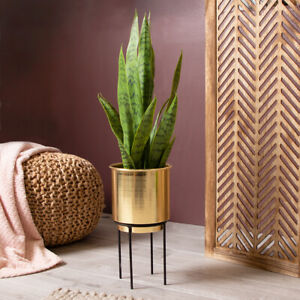 New Brushed Gold Metal Plant Pot & Stand Gorgeous Design Home Decor