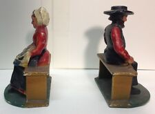 (55180) OLD GREY IRON (?) AMISH COUPLE BOOK ENDS MEASURES 4 3/4 H x 3 1/4 W  ea.