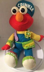 Elmo Plush Playskool Friends Sesame Street Zip Up Snap Buckle Rip Button Mupp
