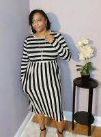Women's Long Sleeve Striped Knee Length Dress