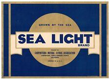 SEA LIGHT LEMON CRATE LABEL SANTA BARBARA CARPINTERIA GOLD TONE 1930S ORIGINAL