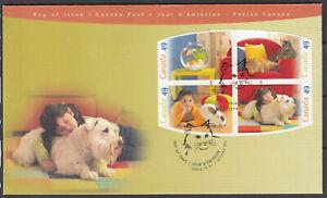 """Canada FDC Scott #2057-2060 BLOCK Oct 1 2004 """"Pets"""" *"""