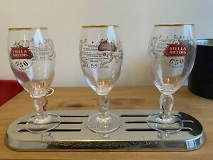 3x Stella Chalice Pint BEER GLASSES NEW