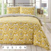 Fusion Ada Scandinavian Floral Easy Care Duvet Cover Bedding Set Ochre Mustard