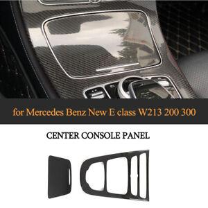 Carbon Black Center Console Gear Panel Cover Trim For Mercedes Benz W213 16-19