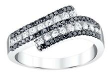 Black Diamond Ring 0.72ct White 18k Gold Channel Anniversary Band
